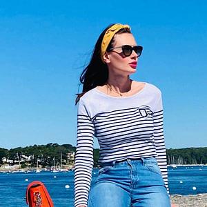 Marinière Bretonne en coton bio, collection femme Breizh Traveller, marque française